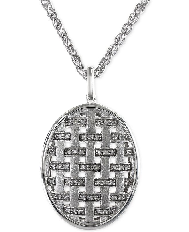 EFFY Collection EFFY® Diamond Oval Pendant Necklace in Sterling Silver (1/5 ct. t.w.)
