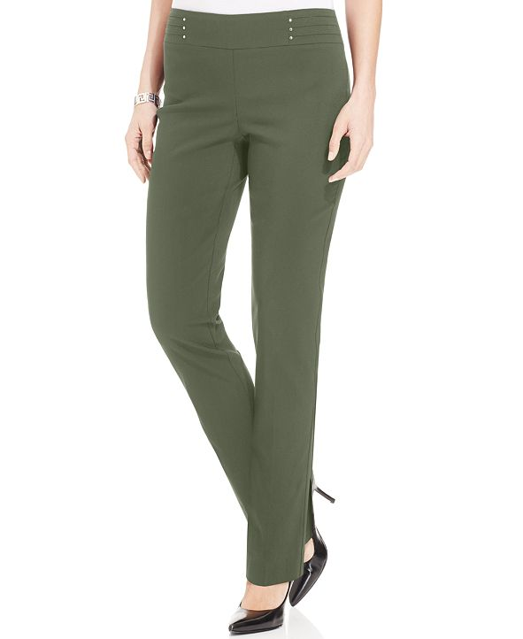 JM Collection Studded Pull-On Tummy Control Pants, Regular and Short Lengths, Created for Macy's