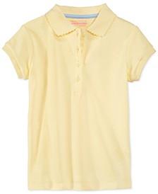 Little Girls School Uniform Picot-Trim Polo