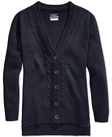 School Uniform Cable-Knit Boyfriend Cardigan, Big Girls