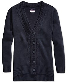 Nautica School Uniform Cable-Knit Boyfriend Cardigan, Big Girls
