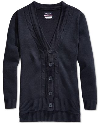 Nautica School Uniform Cable-Knit Boyfriend Cardigan, Big Girls (7 ...