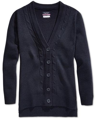 Nautica School Uniform Cable-Knit Boyfriend Cardigan, Big Girls (7 ...