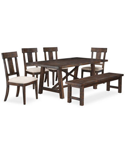 Ember 6 piece dining room furniture set created for macy for Dining room sets 6 piece