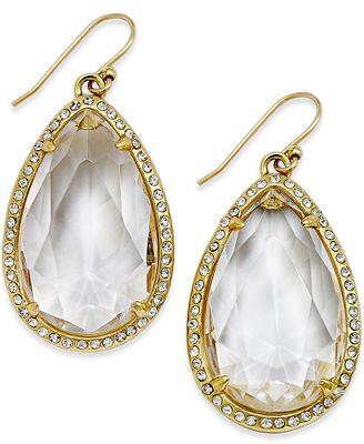 Kate Spade New York 14k Gold Plated Pavé Faceted Teardrop Earrings