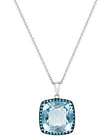 Blue Topaz (12 ct. t.w.) and Swarovski Zirconia Accent Pendant Necklace in Sterling Silver