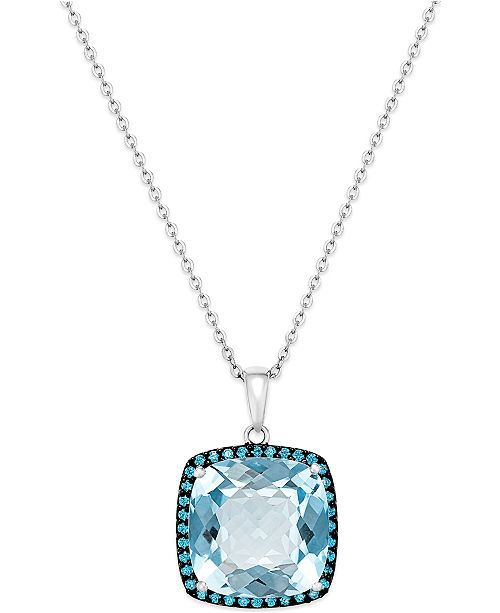 Macy's Blue Topaz (12 ct. t.w.) and Swarovski Zirconia Accent Pendant Necklace in Sterling Silver