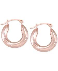 Small Polished Tube Hoop Earrings in 10k Rose Gold