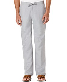 Solid Linen-Blend Drawstring Pants 32 Inseam