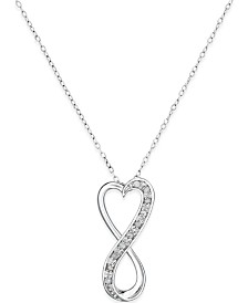 Diamond heart necklace shop diamond heart necklace macys diamond infinity heart 18 pendant necklace in sterling silver 110 ct mozeypictures Images