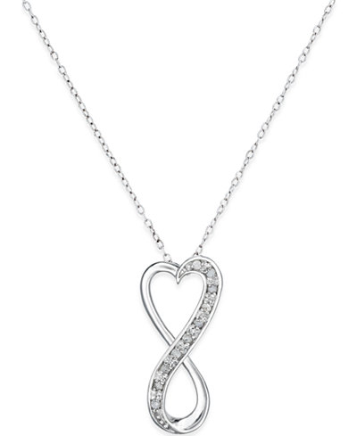 18 diamond infinity heart pendant necklace in sterling silver 1 18 mozeypictures Choice Image