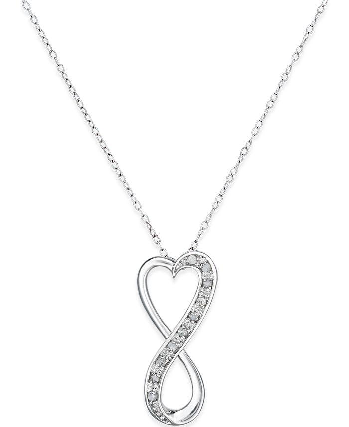 Macy's - Diamond Infinity Heart Pendant Necklace in Sterling Silver (1/10 ct. t.w.)