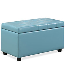 Verona Faux Leather Storage Ottoman, Quick Ship