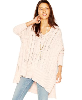 Free People Oversized Cable-Knit Sweater - Sweaters - Women - Macy's