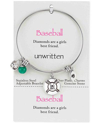 Unwritten Baseball Charm and Green Aventurine (8mm) Bangle Bracelet in Stainless Steel