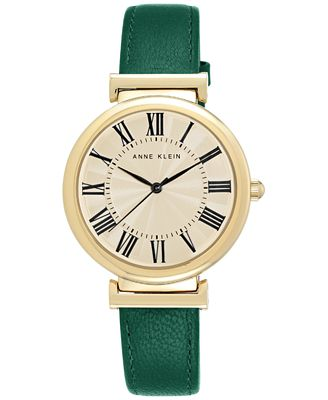 Anne klein women 39 s green leather strap watch 38mm ak 2136crgn watches jewelry watches macy 39 s for Anne klein leather strap