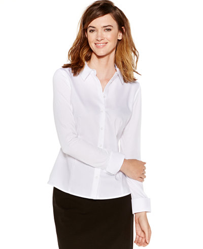 Calvin Klein Knit-Combo Button-Down Top