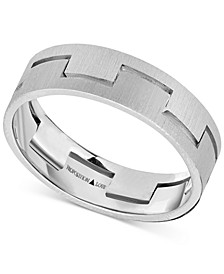 Unisex Interlock Matte Wedding Band in 14k White Gold