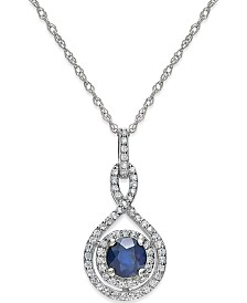 "Sapphire (1/2 ct. t.w.) and Diamond (1/4 ct. t.w.) 18"" Necklace in 14k White Gold (Also available in Ruby in 14k)"