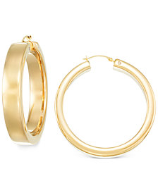 Signature Gold™ Round Hoop Earrings in 14k Gold over Resin