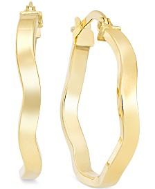 Wave Hoop Earrings in 10k Gold