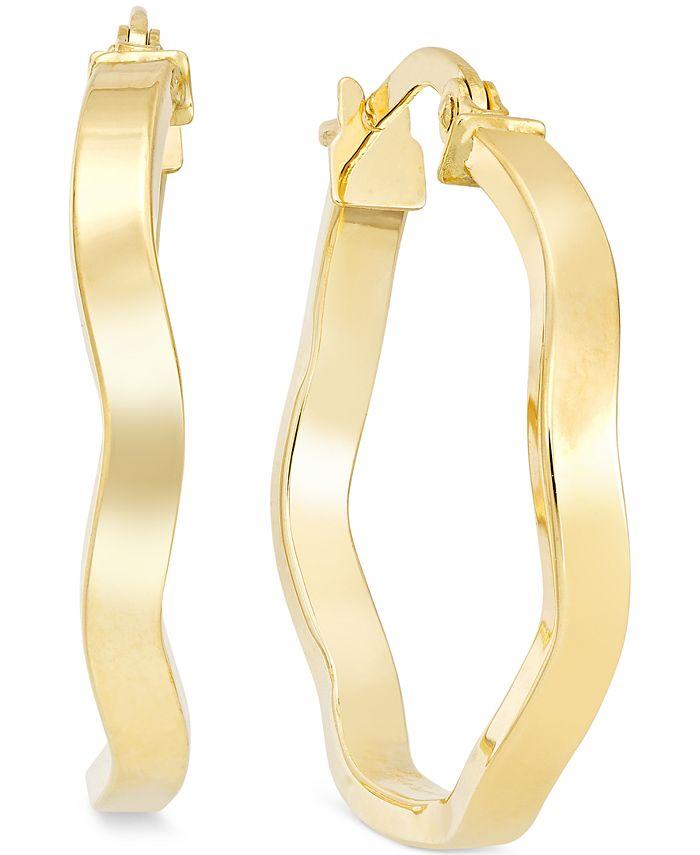 Macy's - Wave Hoop Earrings in 10k Gold