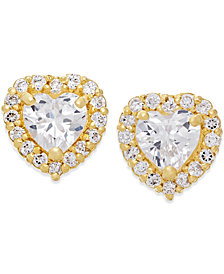 Cubic Zirconia Heart Stud Earrings in 10k Gold