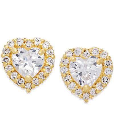 Cubic Zirconia Heart Stud Earrings in 10k Gold