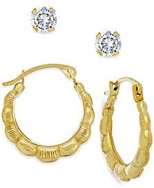 Cubic Zirconia and Ribbed Hoop Earring Set in 10k Gold