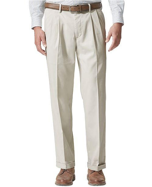Dockers Men's Comfort Relaxed Pleated Cuffed Fit Khaki Stretch Pants D4