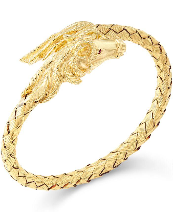 Italian Gold - Woven Horse Bangle Bracelet in 14k Gold Vermeil