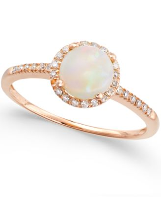 Opal 34 ct tw and Diamond 18 ct tw Ring in 14k Rose Gold