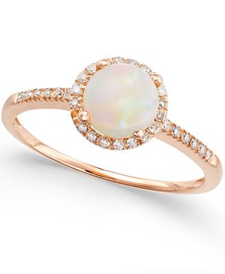 Opal 3 4 ct t w and Diamond 1 8 ct t w Ring in 14k Rose