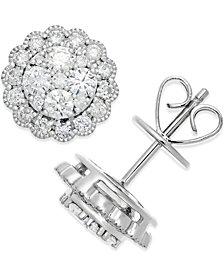 Diamond Halo Cluster Stud Earrings (1 ct. t.w.) in 14k White Gold