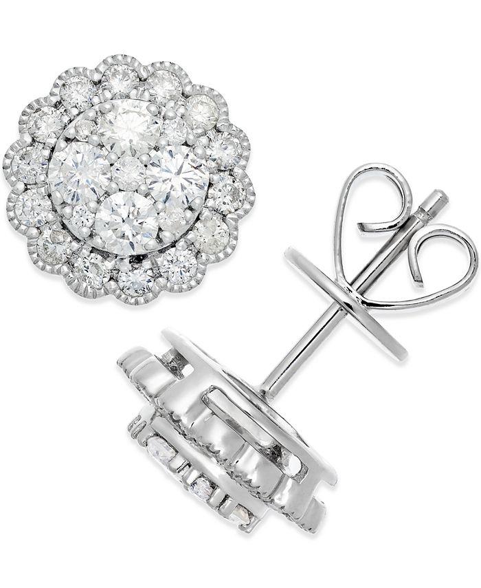 Macy's - Diamond Halo Stud Earrings (1 ct. t.w.) in 14k White Gold