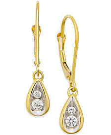 Diamond Teardrop Earrings (1/4 ct. t.w.) in 14k Gold