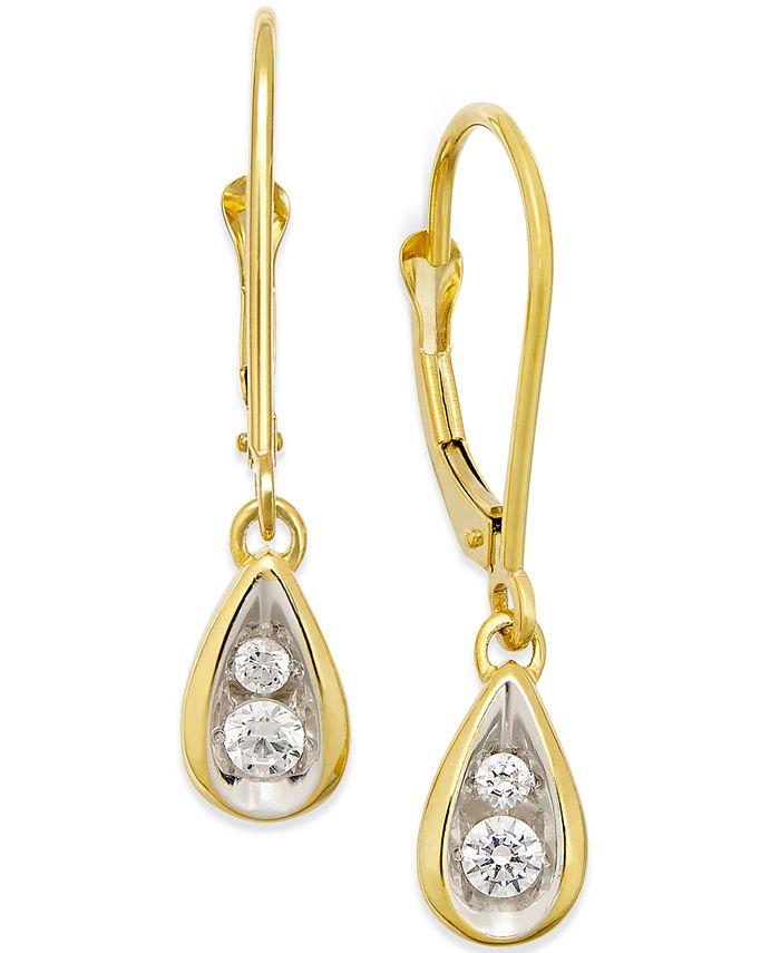 Macy's - Diamond Teardrop Earrings (1/4 ct. t.w.) in 14k Gold