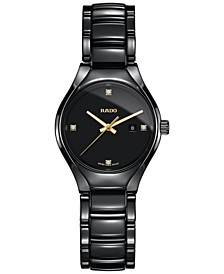 Women's Swiss True Diamond Accent Black High-Tech Ceramic Bracelet Watch 30mm R27059712