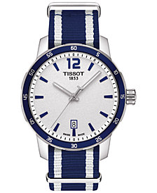Tissot Unisex Swiss Quickster White and Blue Strap Watch 40mm T0954101703701