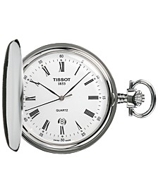 Unisex Swiss Savonnette Stainless Steel Pocket Watch 49mm T83655313