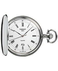 Tissot Unisex Swiss Savonnette Stainless Steel Pocket Watch 49mm T83655313
