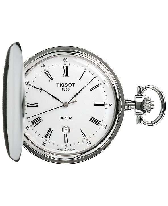 Tissot Unisex Swiss Savonnette Stainless Steel Pocket Watch 49mm T83655313
