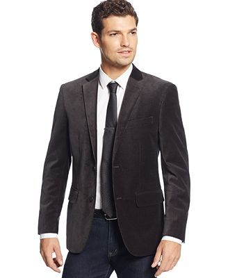 Alfani Grey and Black Velvet Slim-Fit Evening Jacket - Blazers ...