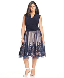 SL Fashions Plus Size Embellished Lace A-Line Dress