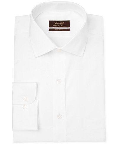 Tasso Elba Classic-Fit Non-Iron White Twill Solid Dress Shirt, Created for Macy's