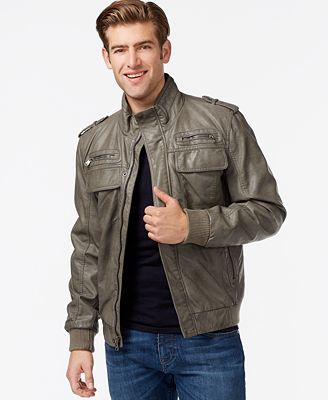 Calvin Klein Faux-Leather Bomber Jacket - Coats & Jackets - Men ...