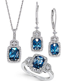 London Blue Topaz (4-3/5 ct. t.w.) and White Topaz (7/8 ct. t.w.) Jewelry Set in Sterling Silver