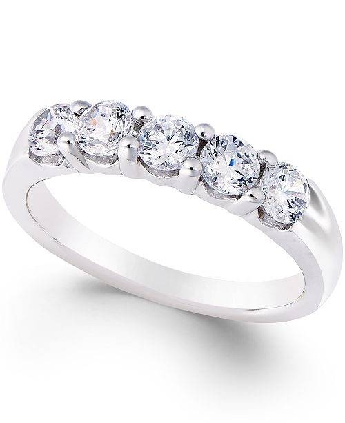 Macy's Certified Diamond Five-Stone Band (1 ct. t.w.) in Platinum