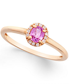Pink Sapphire (1/2 ct. t.w.) and Diamond Accent Ring in 18k Rose Gold