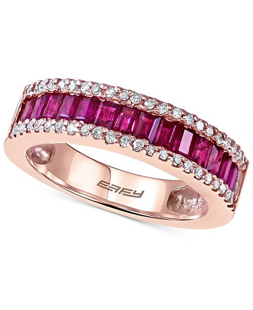 EFFY Collection EFFY Ruby (1 ct. t.w.) and Diamond (1/5 ct. t.w.) Ring in 14k Rose Gold